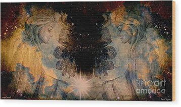 Angels Administering Spiritual Gifts Wood Print by Leanne Seymour