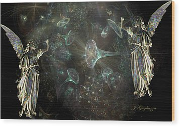 Angels And Trumpets Wood Print by Jean Gugliuzza