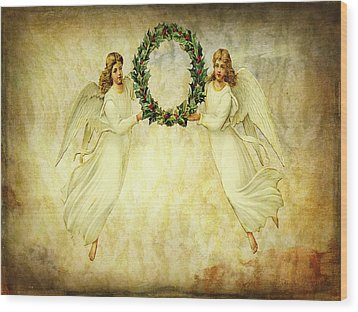 Wood Print featuring the mixed media Angels Christmas Card Or Print by Bellesouth Studio