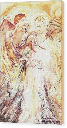 Angels Emerging Wood Print