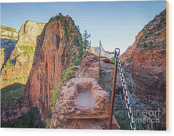 Angels Landing Hiking Trail Wood Print by JR Photography
