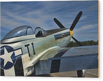 Angels Playmate P-51 Wood Print by Steven Richardson