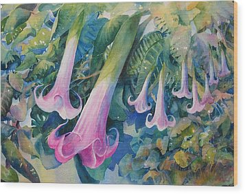 Angels Trumpets I Wood Print by Marilyn Young
