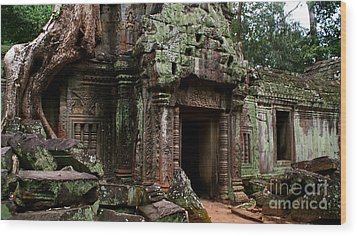 Wood Print featuring the photograph Angkor Wat by Louise Fahy