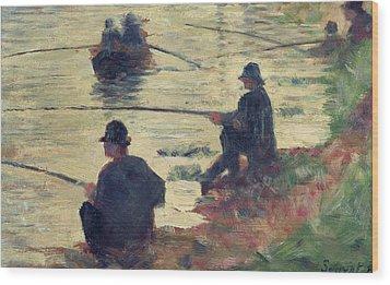 Anglers Wood Print by Georges Pierre Seurat