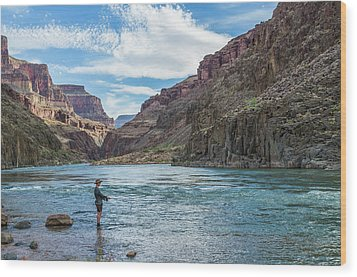 Wood Print featuring the photograph Angling On The Colorado by Alan Toepfer