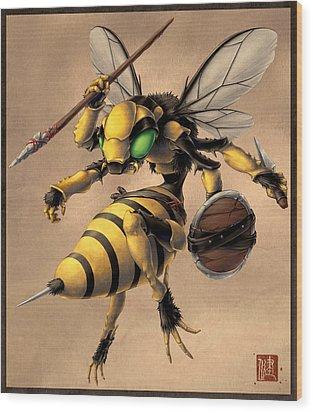 Angry Bee Wood Print by James Ng