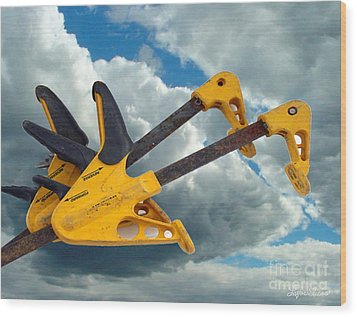 Wood Print featuring the digital art Angry Birds Clamps by Lyric Lucas