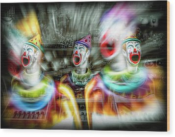 Wood Print featuring the photograph Angry Clowns by Wayne Sherriff