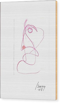 Angry Face - Gesture Drawing Wood Print by Rod Ismay