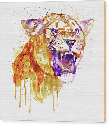 Wood Print featuring the mixed media Angry Lioness by Marian Voicu