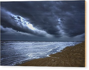 Angry Sky Peaceful Sea Wood Print by Cecil Fuselier