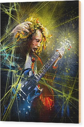 Angus Young Wood Print by Miki De Goodaboom