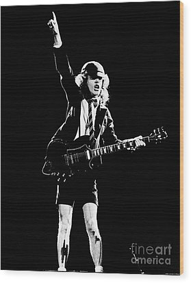 Wood Print featuring the photograph Angus Young Of Ac/dc 1983 by Chris Walter
