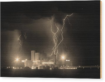 Anheuser-busch On Strikes Black And White Sepia Image Wood Print by James BO  Insogna