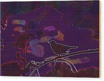 Wood Print featuring the digital art Animal Bird Dark Nature Silhouette  by PixBreak Art