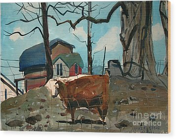 Wood Print featuring the painting Animal Farm by Charlie Spear
