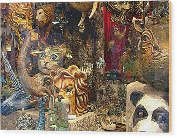 Animal Masks From Venice Wood Print by Mindy Newman