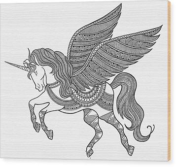 Animal Unicorn Wood Print by Neeti Goswami