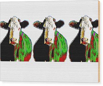 Animals Cows Three Pop Art Cows Warhol Style Wood Print by Ann Powell