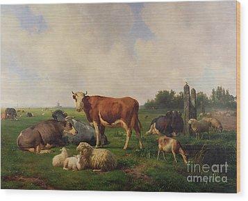 Animals Grazing In A Meadow  Wood Print by Hendrikus van de Sende Baachyssun