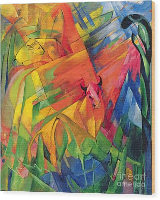 Animals In A Landscape Wood Print by Franz Marc