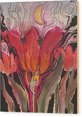 Animals In The Tulip Wood Print