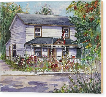 Wood Print featuring the painting Anita's House by Margit Sampogna