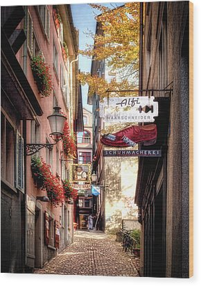 Wood Print featuring the photograph Ankengasse Street Zurich by Jim Hill