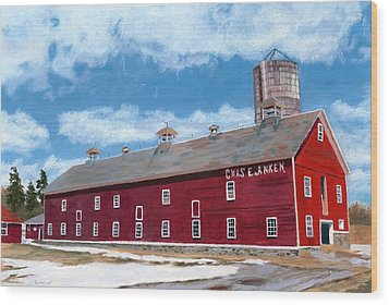 Wood Print featuring the painting Anken's Barn by Lynne Reichhart
