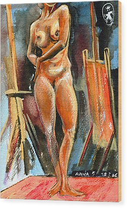 Anna Nude Wood Print by Ion vincent DAnu