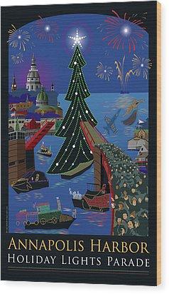 Annapolis Holiday Lights Parade Wood Print