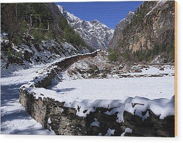 Wood Print featuring the photograph Annapurna Circuit Trail by Aidan Moran