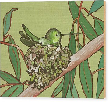 Annas Hummer Wood Print by Sandy Tracey