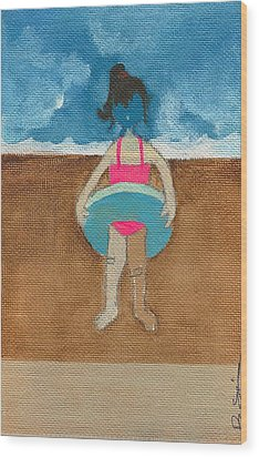 Annatte At The Beach With Bandaids Wood Print by Ricky Sencion