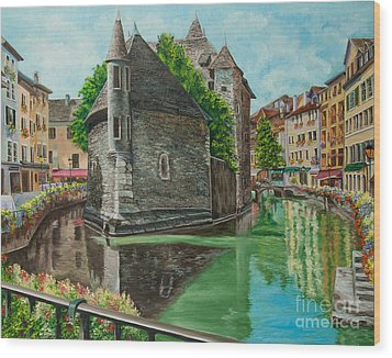 Annecy-the Venice Of France Wood Print by Charlotte Blanchard