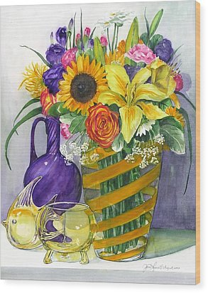 Anniversary Bouquet Wood Print by Jane Loveall