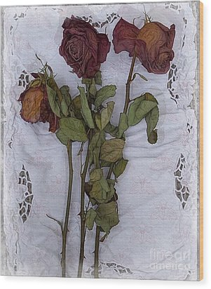 Wood Print featuring the digital art Anniversary Roses by Alexis Rotella