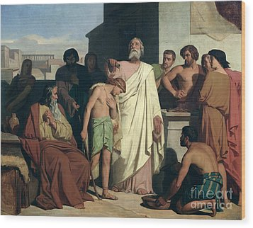 Annointing Of David By Saul Wood Print by Felix-Joseph Barrias