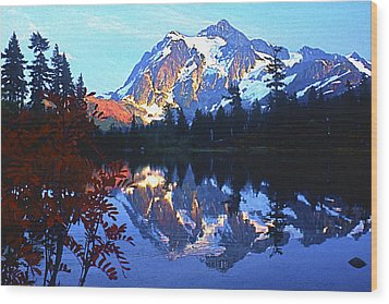 Another Shuksan Reflection Wood Print by Todd Kreuter