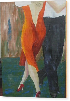 Wood Print featuring the painting Another Tango Twirl by Keith Thue