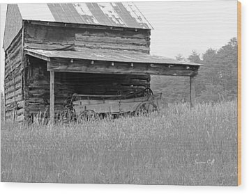 Another Time -- Black And White Wood Print by Suzanne Gaff