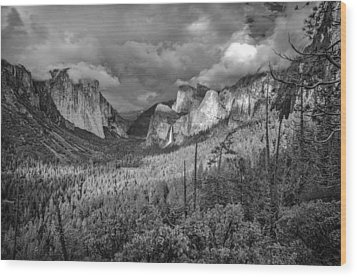 Wood Print featuring the photograph Ansel Adams Inspired Yosemite Tunnel View by Scott McGuire
