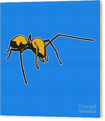 Ant Graphic  Wood Print by Pixel  Chimp