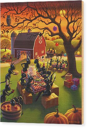 Ant Party Wood Print by Robin Moline