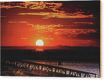 Antelope Island Marina Sunset Wood Print