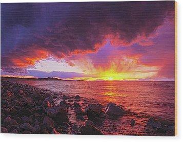 Antelope Island Sunset Wood Print