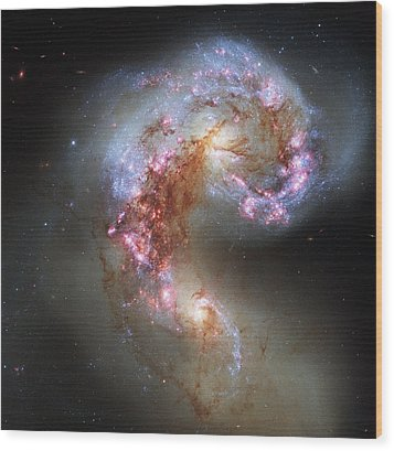 Wood Print featuring the photograph Antennae Galaxies Reloaded by Nasa