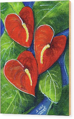 Anthurium Flowers #272 Wood Print by Donald k Hall