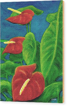 Anthurium Flowers #296 Wood Print by Donald k Hall